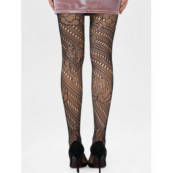See Thru Elastic Hole Tights - BLACK BLACK