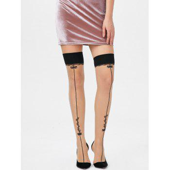 Overknee Leaves Graphic Sheer Tights