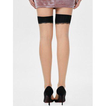 Overknee Leaves Graphic Sheer Tights - ONE SIZE ONE SIZE