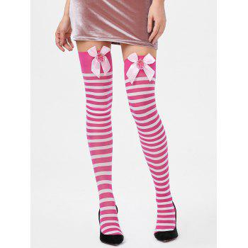 Overknee Stripe Stockings with Bowknot - PINK ONE SIZE