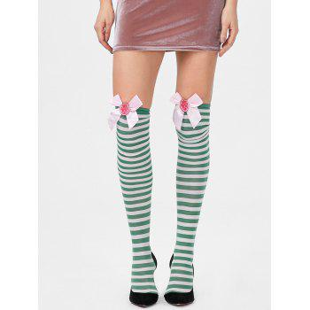 Overknee Stripe Stockings with Bowknot - GREEN GREEN