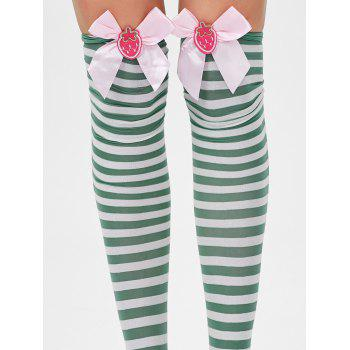 Overknee Stripe Stockings with Bowknot - GREEN ONE SIZE