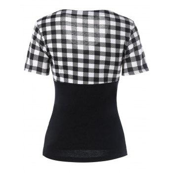 V Neck Front Bowknot Plaid T-Shirt - BLACK M