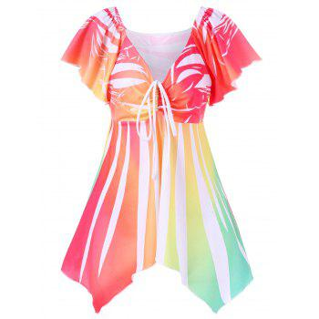 Butterfly Sleeve Empire Waist Striped Asymmetric T-Shirt