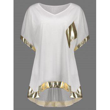 Metallic Panel High Low Oversized Tee
