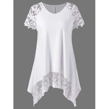 Plus Size Lace Trim Cutwork Asymmetrical T-Shirt