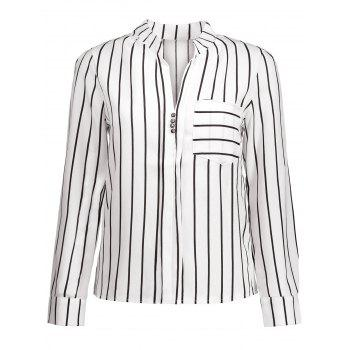 Button Design Striped Blouse with Pocket