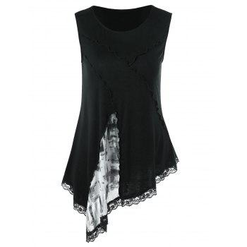 Lace Insert Asymmetric Tank Top