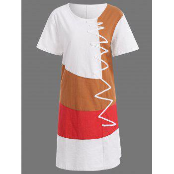 Plus Size Colorblock Embroidered Linen T-Shirt Dress - WHITE WHITE