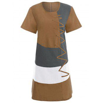 Plus Size Colorblock Embroidered Linen T-Shirt Dress - EARTHY 5XL