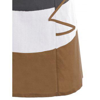Plus Size Colorblock Embroidered Linen T-Shirt Dress - EARTHY EARTHY