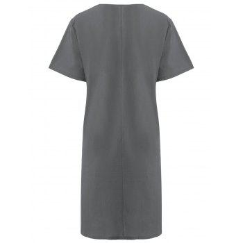 Plus Size Colorblock Embroidered Linen T-Shirt Dress - GRAY GRAY