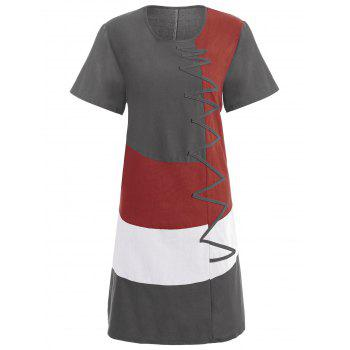 Plus Size Colorblock Embroidered Linen T-Shirt Dress - GRAY 5XL