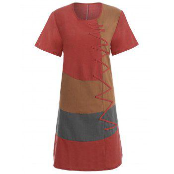 Plus Size Colorblock Embroidered Linen T-Shirt Dress - RED 5XL