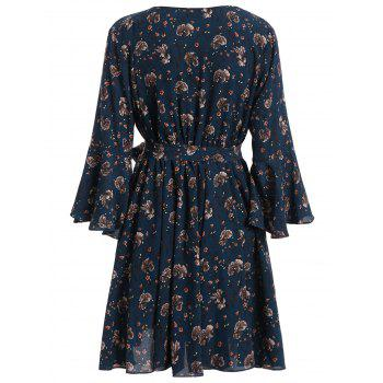 Plus Size Bell Sleeve Floral Flare Dress - 3XL 3XL