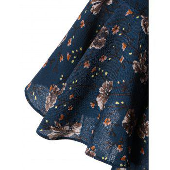 Plus Size Bell Sleeve Floral Flare Dress - BLUE BLUE