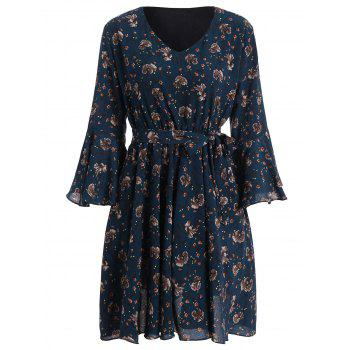 Plus Size Bell Sleeve Floral Flare Dress - BLUE 4XL