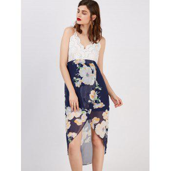 Floral Print Backless Asymmetrical Midi Dress - WHITE L