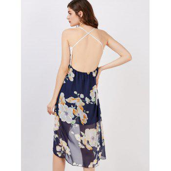Floral Print Backless Asymmetrical Midi Dress - WHITE XL