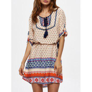 Tassel Ornate Print Lace Up Dress