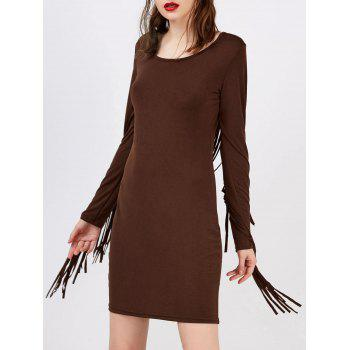 Fringed Mini Long Sleeve Bodycon Flapper Dress
