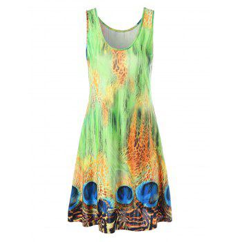 Peacock Print Mini Swing Dress