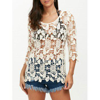 See Through Crochet Sunflower Swimsuit Cover Up