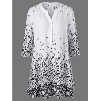 Buy Plus Size Tiny Floral Henley T-Shirt WHITE
