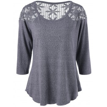 Plus Size Lace Crochet Panel T-Shirt