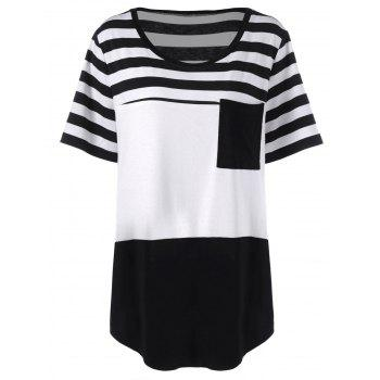 Plus Size Long Stripe Pocket T-Shirt