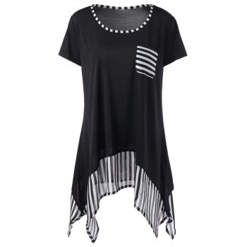 Plus Size One Pocket Striped Asymmetric T-Shirt