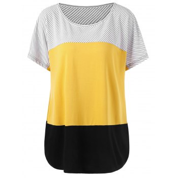 Plus Size Striped Trim Curved T-Shirt