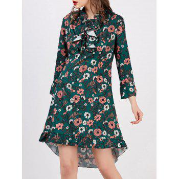 High Low Floral Print Mini Dress