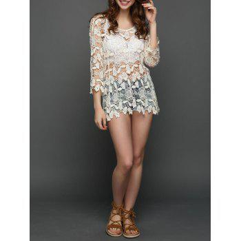 Floral Crochet See Through Long Blouse