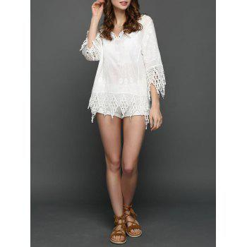 Embroidered Crochet Lace Insert Blouse
