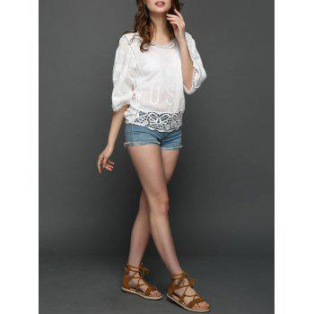 Embroidered Crochet Lace Insert USA Graphic Blouse