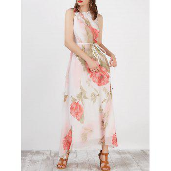 Ruffled Floral Print Sleeveless Maxi Bohemian Dress