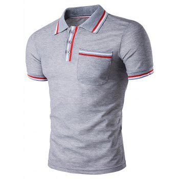 Striped Pocket Embellished Polo T-Shirt