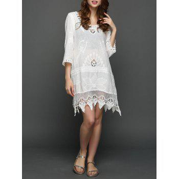 Crochet Lace Insert Floral Embroidered Dress