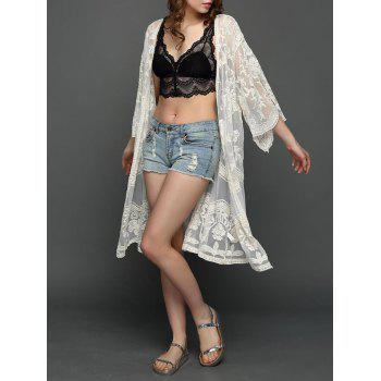 Lace Open Front Floral Embroidered Kimono
