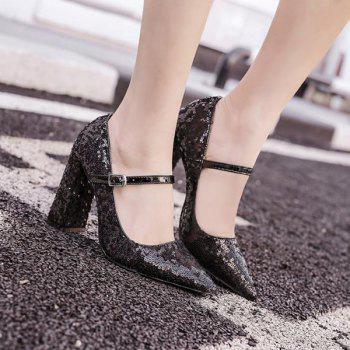 Block Heel Sequined Pumps