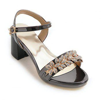 Rhinestones PU Leather Block Heel Sandals