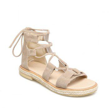 Suede Espadrilles Lace Up Sandals - GLITTER CREAMY WHITE 37