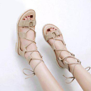 Suede Espadrilles Lace Up Sandals - 37 37
