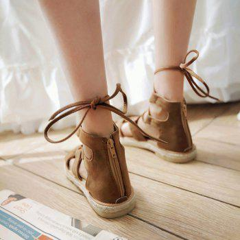 Suede Espadrilles Lace Up Sandals - BROWN BROWN