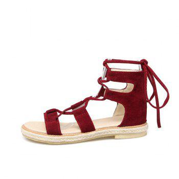 Suede Espadrilles Lace Up Sandals - 39 39