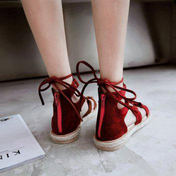 Suede Espadrilles Lace Up Sandals - DEEP RED DEEP RED