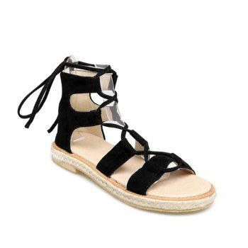 Suede Espadrilles Lace Up Sandals - BLACK BLACK
