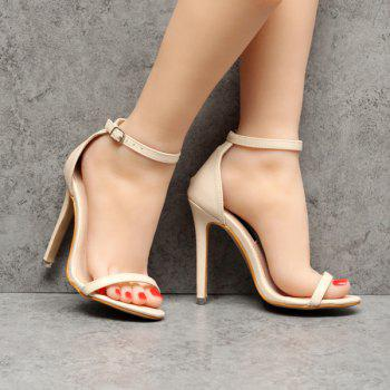 Faux Leather Mini Heel Sandals