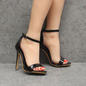 Mini Heel Patent Leather Sandals